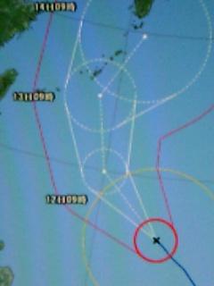 台風4号の予想進路図